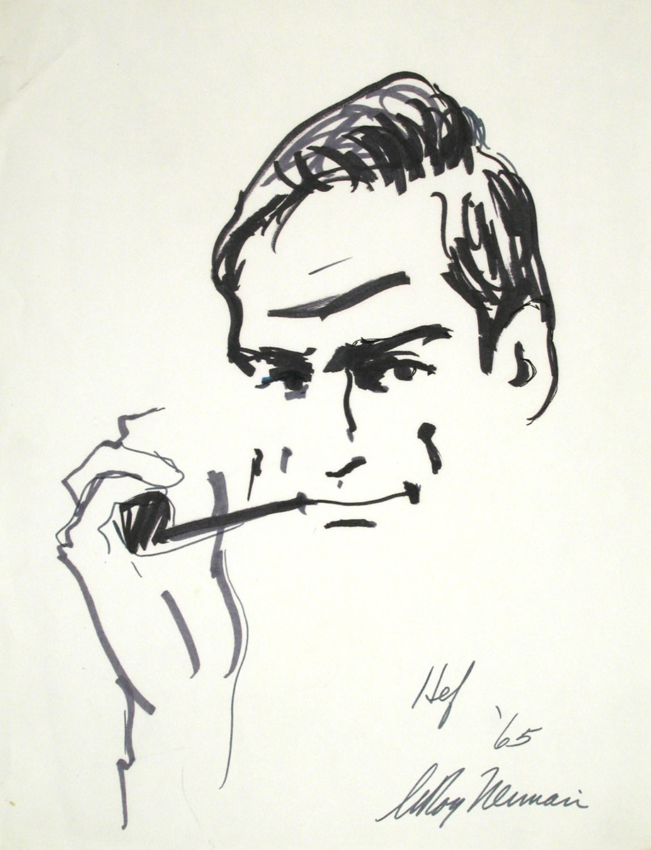 Hef, mixed media on paper, 16 1/4 x 12 1/2 in., 1965