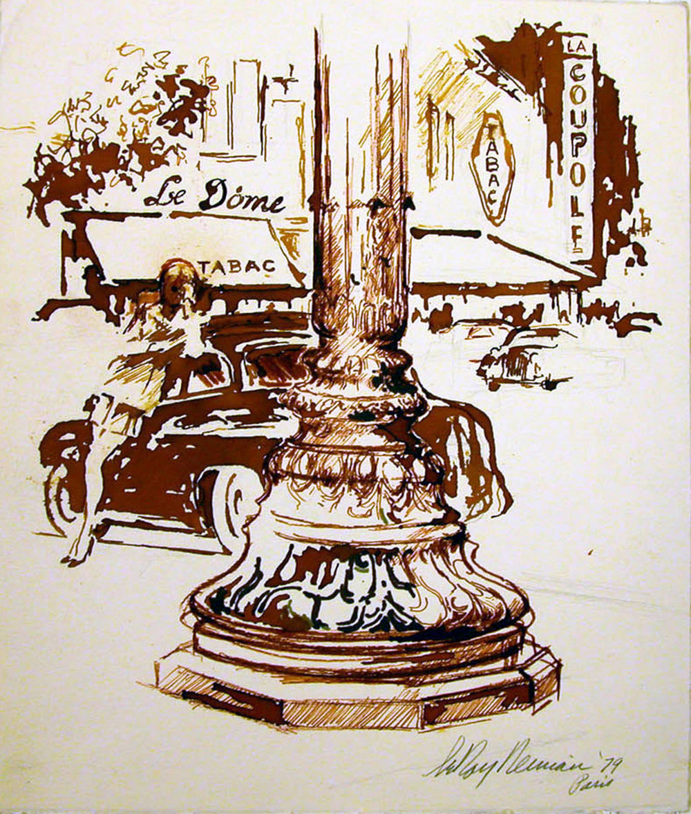 SOLD Paris Corner, mixed media on paper, 13 5/8 x 11 1/2 in., 1979