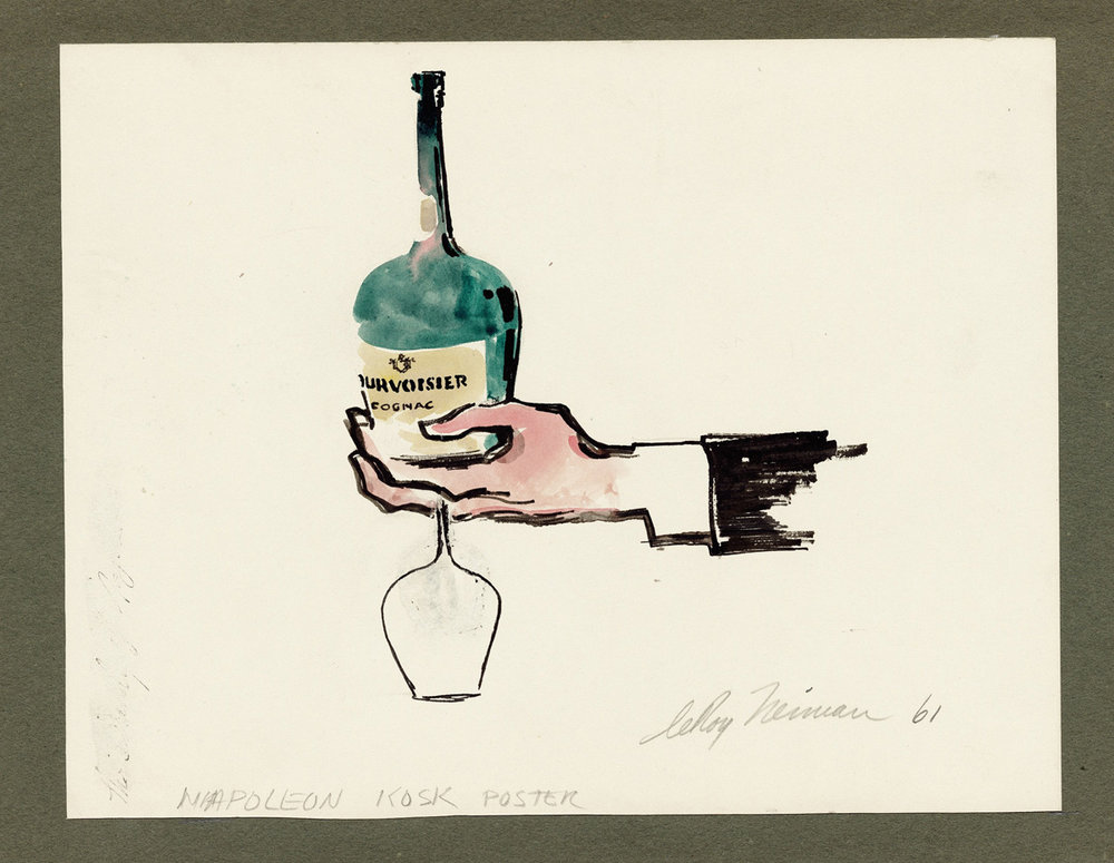 Courvoisier, mixed media on paper, 83/4 X 11 1/2 in., 1961