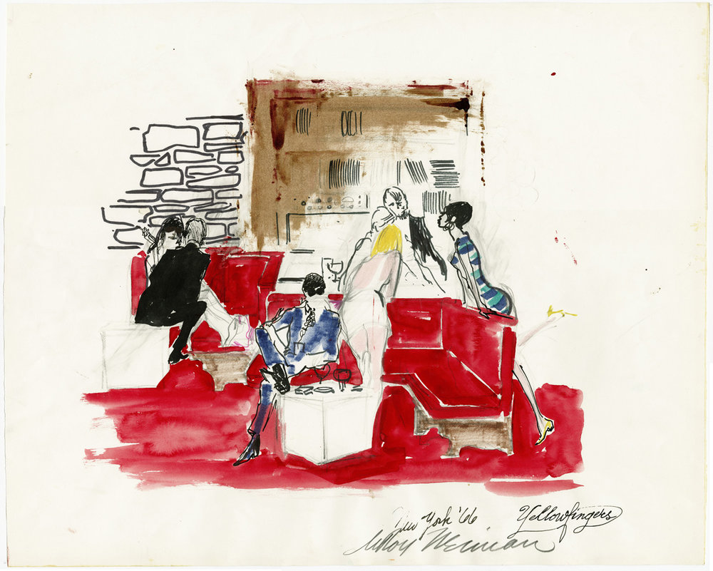 Yellow Fingers' Lounge, New York, mixed media on paper, 18 1/2 x 23 in., 1966