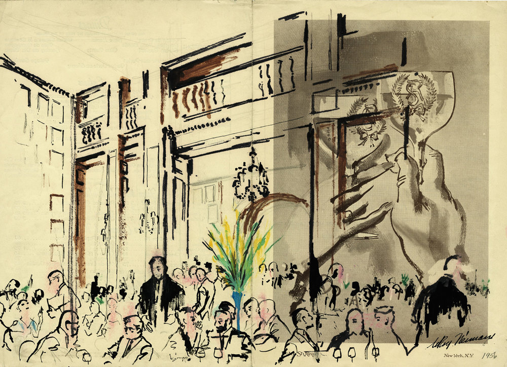 SOLD Dining Scene at the Hotel St. Regis, mixed media on menu 14 x 20 in., 1956