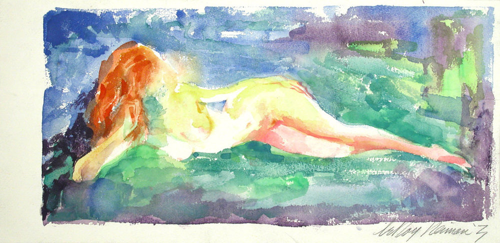 Reclining Redhead, mixed media on paper, 9 1/2 x 19 1/2 in., 1971