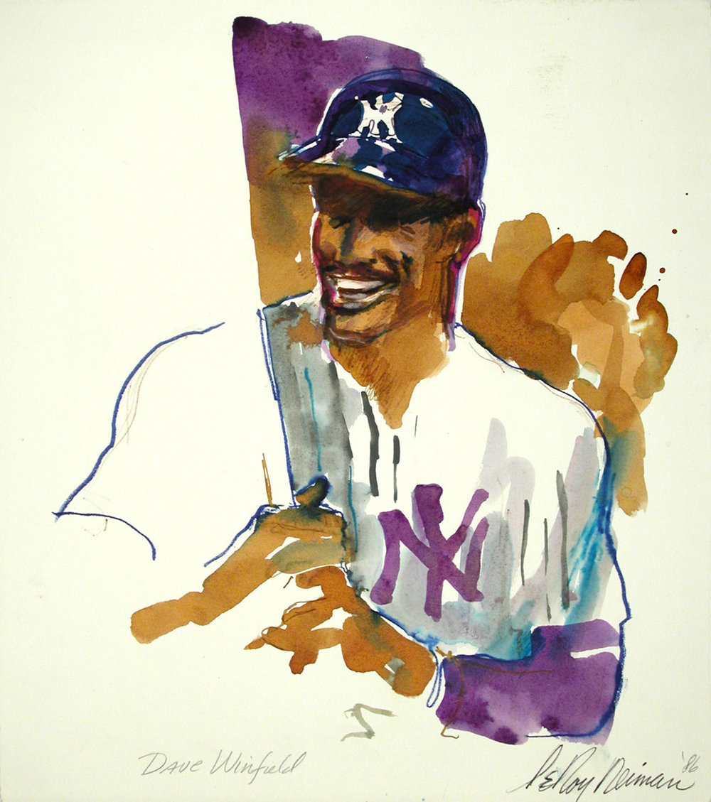 Dave Winfield, mixed media on paper, 15 x 13 1/2 in., 1986