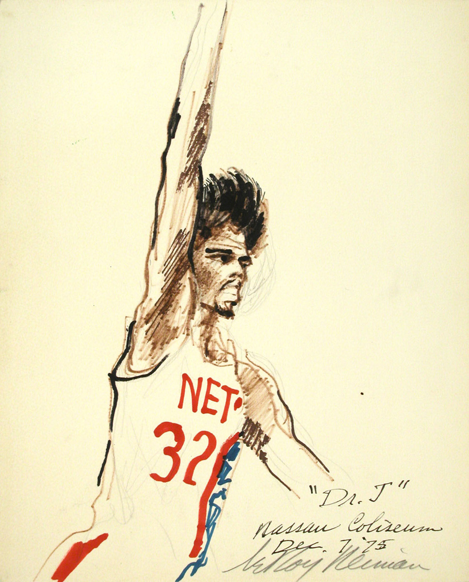 Dr. J, mixed media on paper, 14 3/4 x 11 7/8 in., 1975
