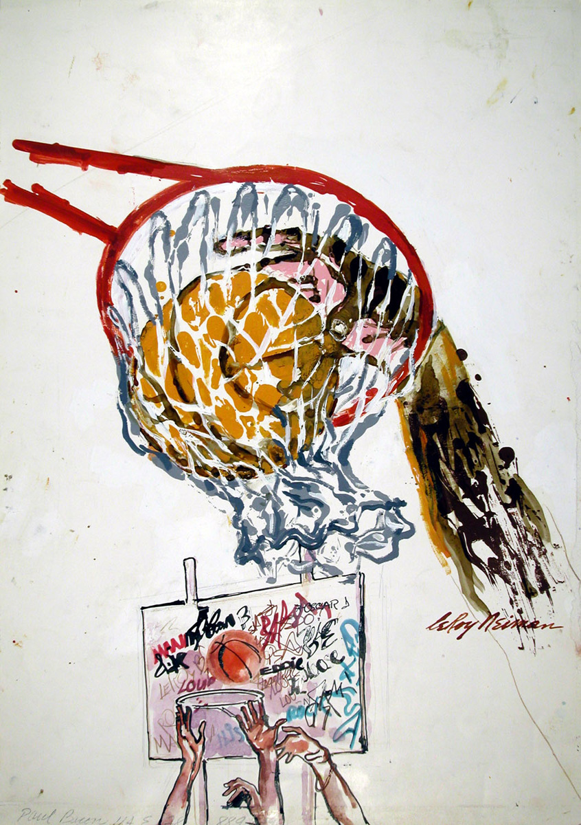 Hoops, mixed media on paper, 23 x 16 1/8 in., c. 1980