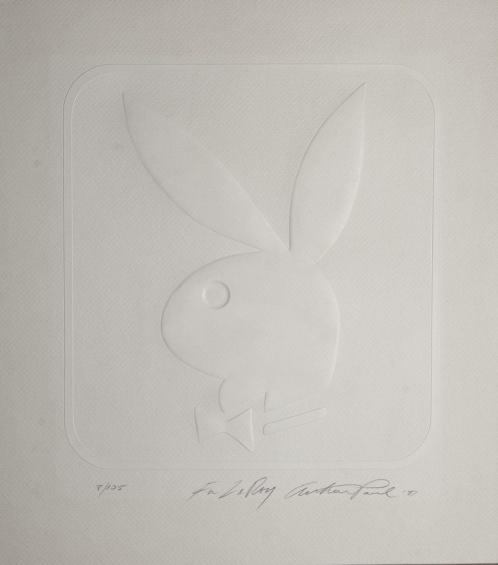 Playboy Bunny by Arthur Paul, embossing on paper, 19 5/8 x 17 5/8 in., 1987