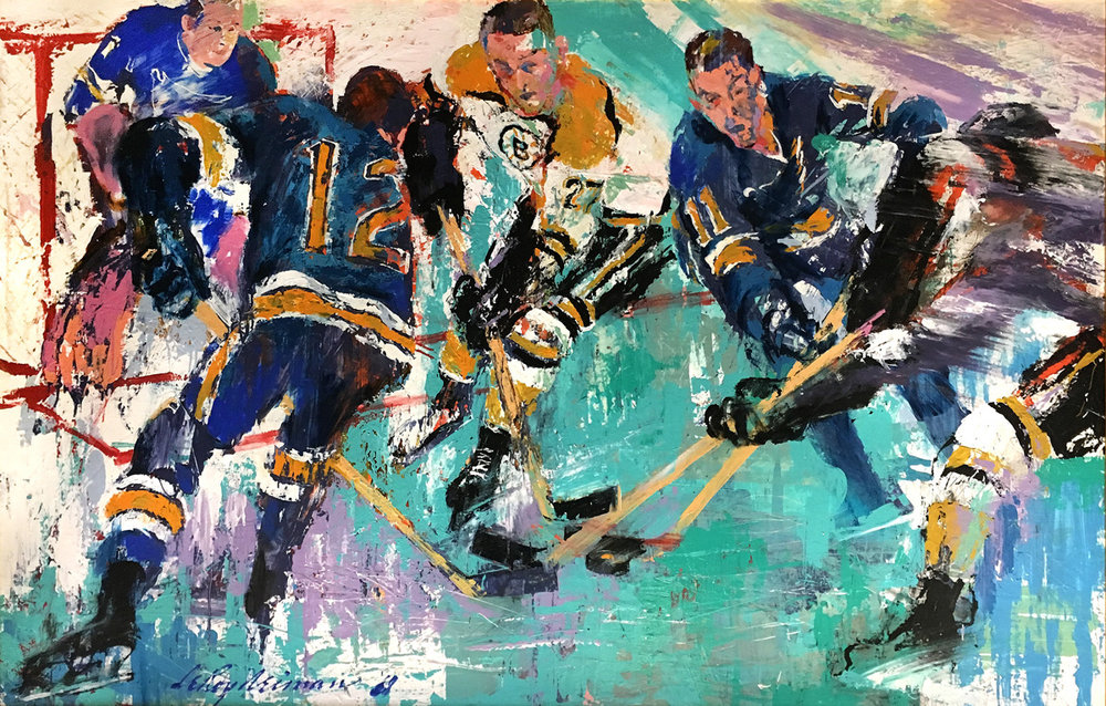 The Blues and the Bruins, acrylic & enamel on board, 72 x 48 in. 1968
