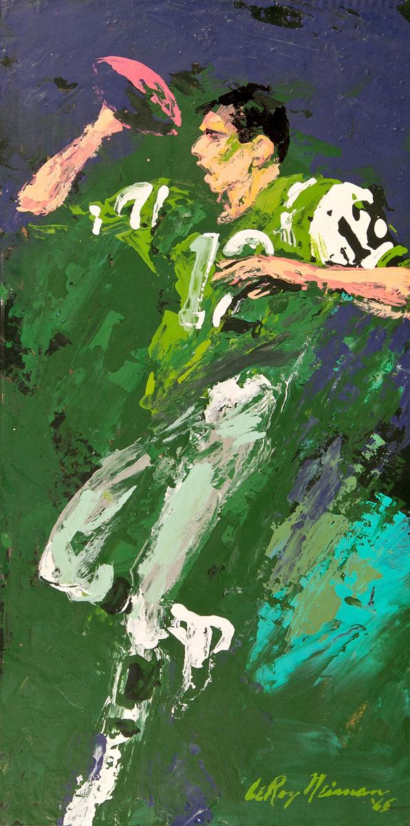 Joe Namath, acrylic & enamel on board, 15.5 x 7.75 in. 1965