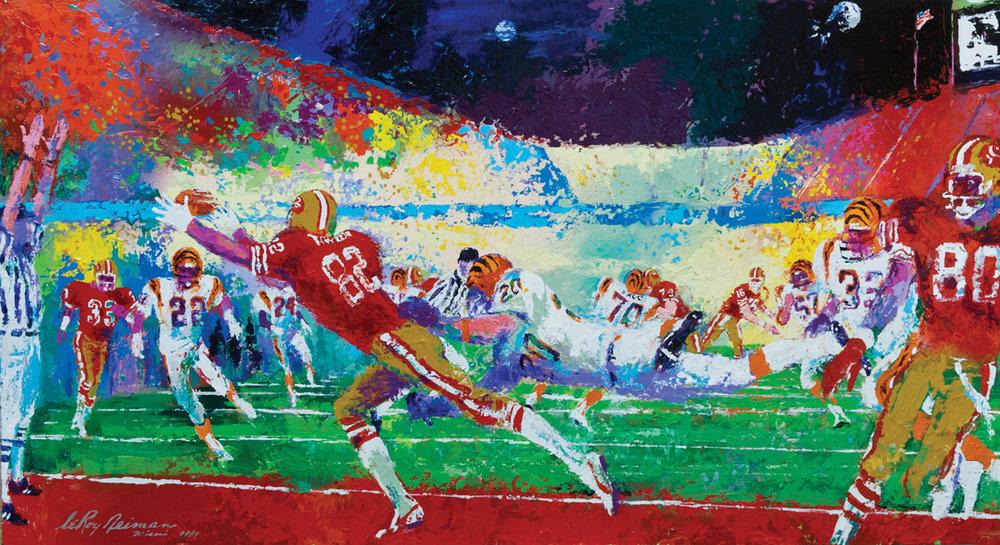 Superbowl XXIII, acrylic & enamel on board, 24 x 44 in. 1989