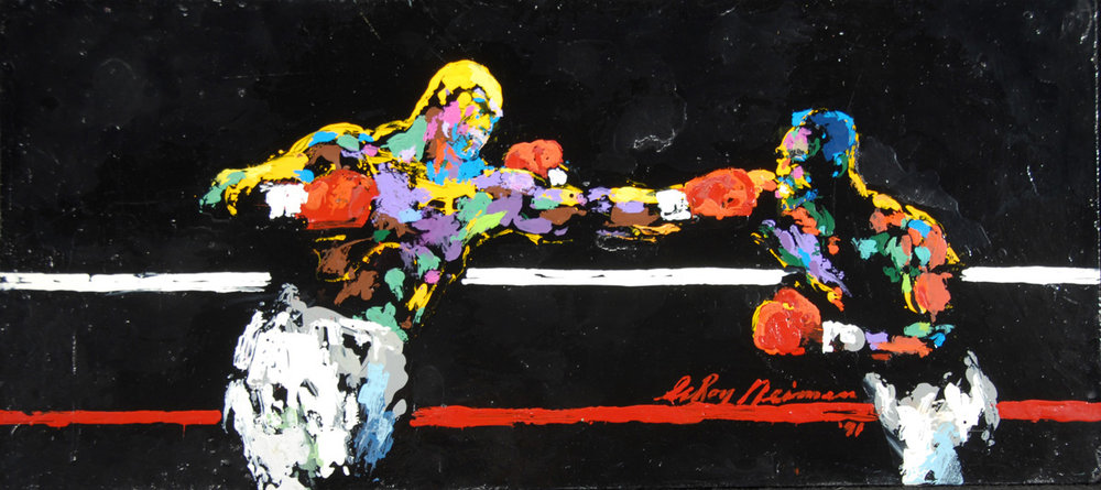 Tyson vs Holyfield 1991, acrylic & enamel on board, 12 x 26 in. 1991