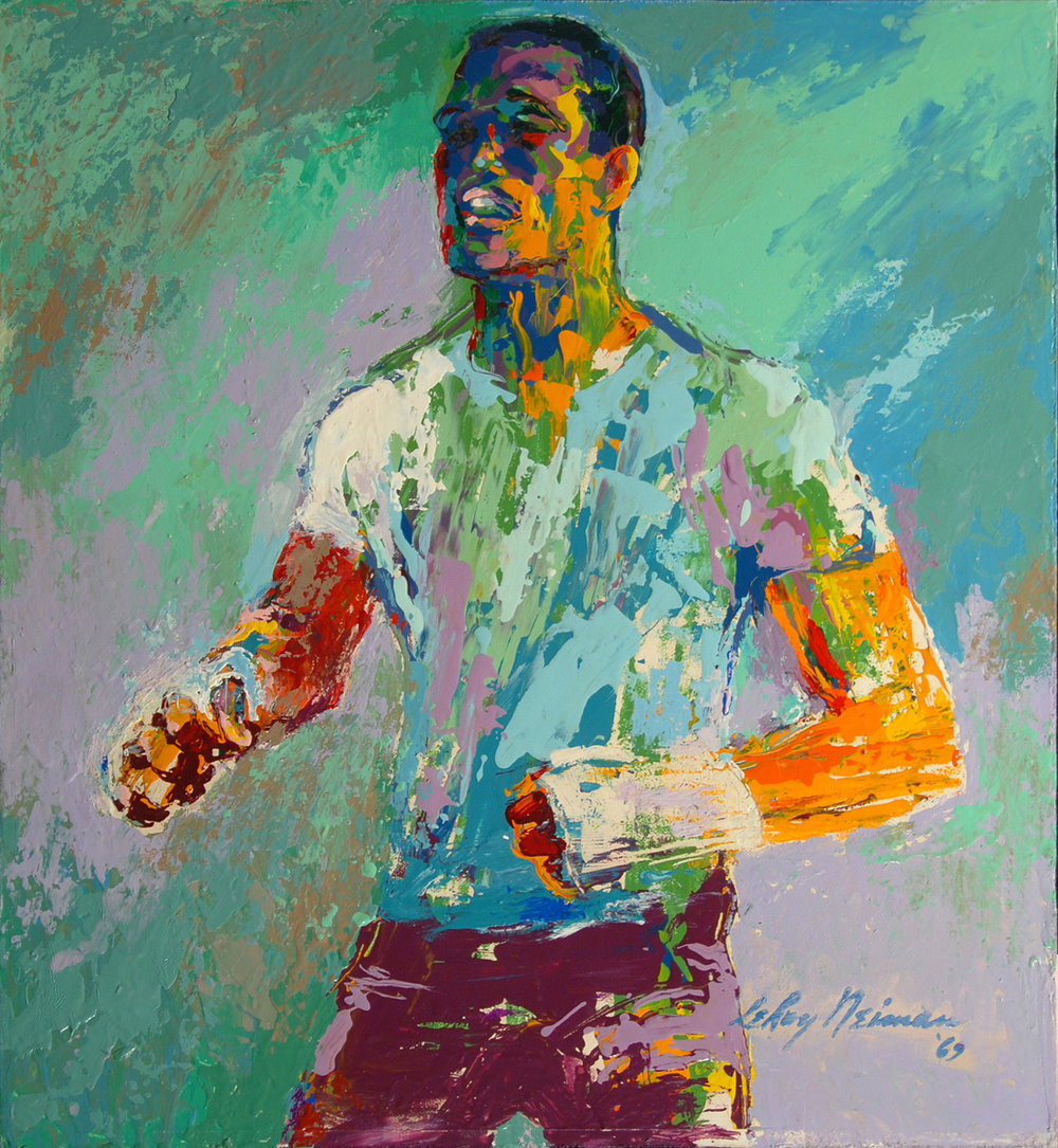 Sugar Ray Robinson, acrylic & enamel on board, 16 x 17.5 in. 1969