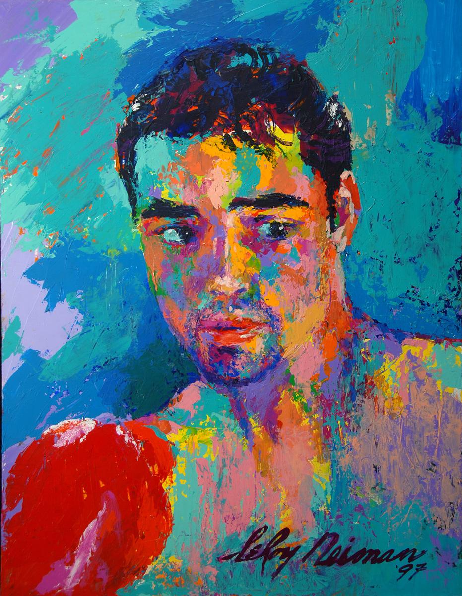 Oscar de la Hoya, acrylic & enamel on board, 23.5 x 18 in. 1997