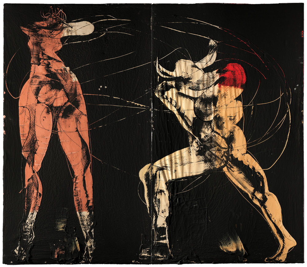 Female and Minotaur-diptych, mixed media on canvas, 83 x 95 in. (210 x 242 cm), 2018