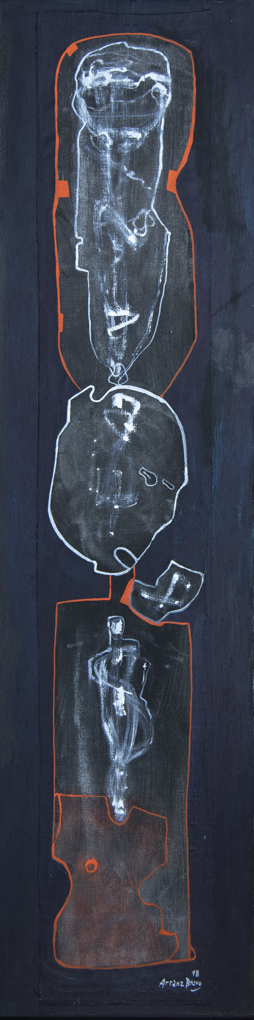 Yeoman II, oil on canvas on board, 44 x 11.2 in. (112 x 28.5 cm), 2018