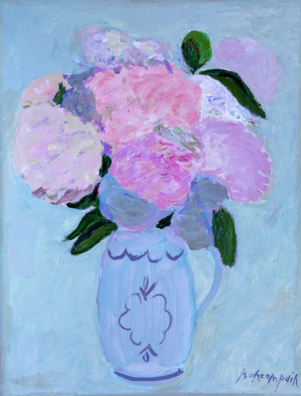 Pivoines rose, oil on canvas, 18 x 13 in.