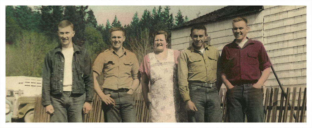 LEFT TO RIGHT: RUSS, VERN, MOM (HELEN), ED AND JACK COFFELT. CIRCA EARLY 50'S.