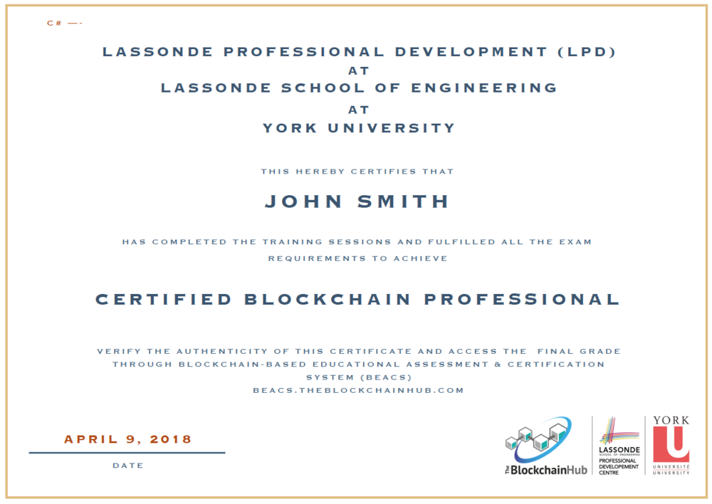 Certified Blockchain Professional Sample Certificate