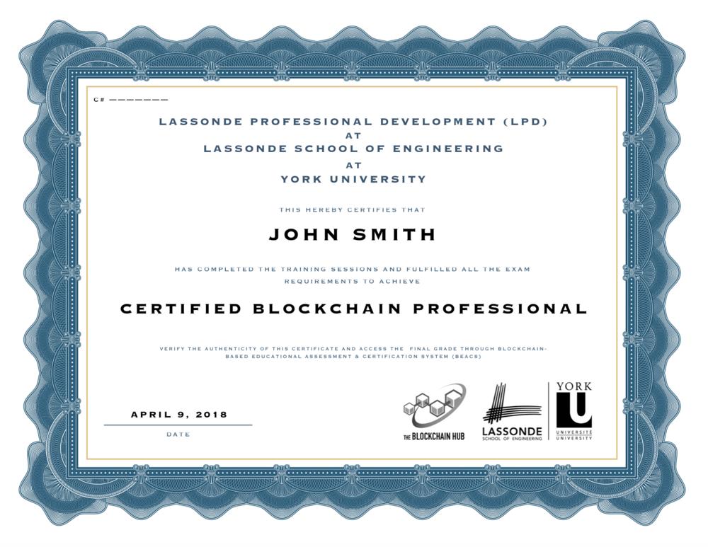 Blockchain Certificate Lassonde YorkU Sample