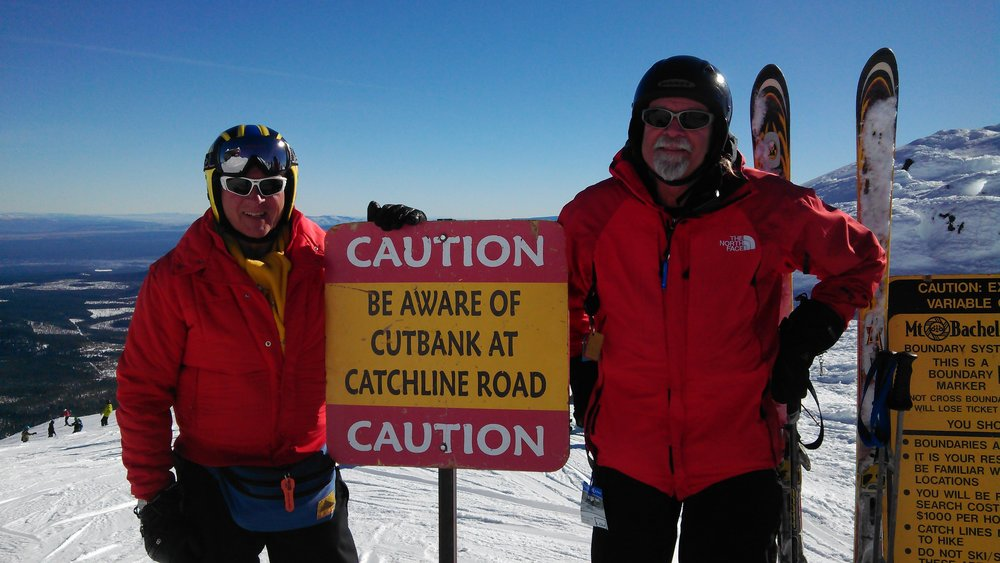 Tom Arnold & Bob Caldwell, TWO OF THE FOUNDING MEMBERS OF ALTAIR SKI & SPORTS CLUB, at Mt. Bachelor.