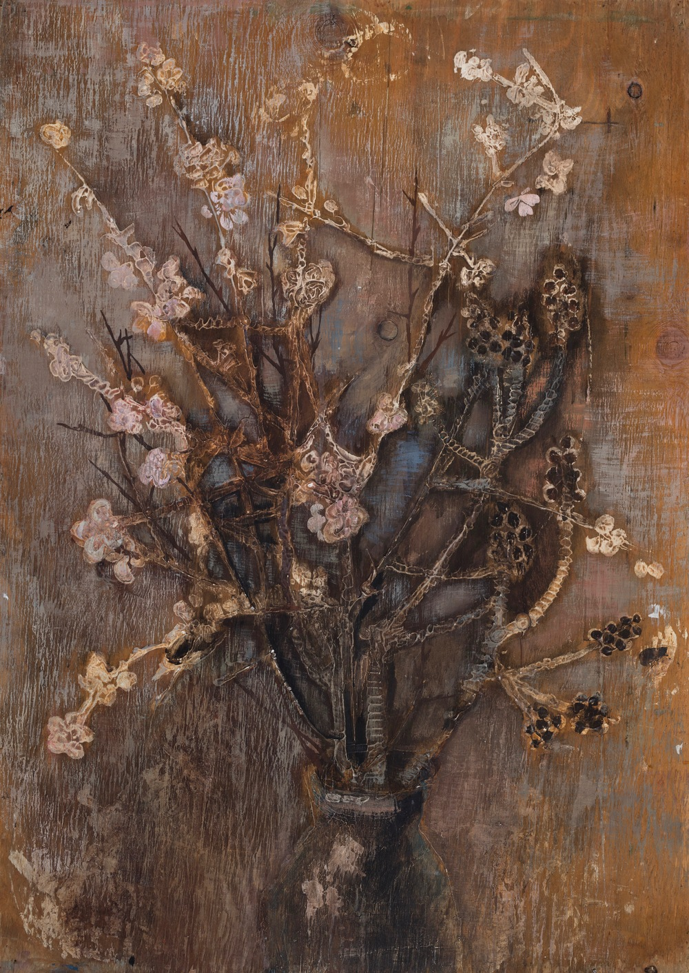 Dry Flowers  Mixed media on wood 1977