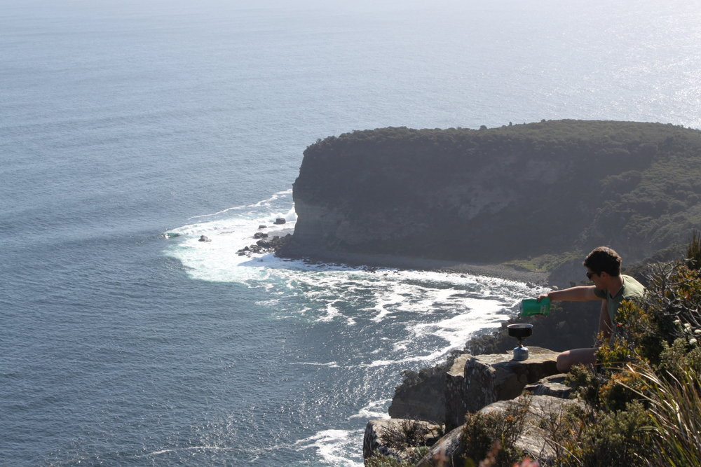 shipstern bluff lookout - as good a place as any for a snack.
