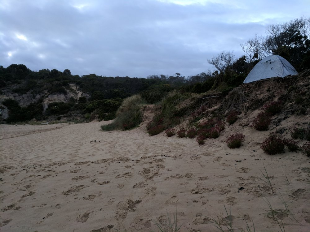 she's not much, but she's home (for the night) - Clifton beach.