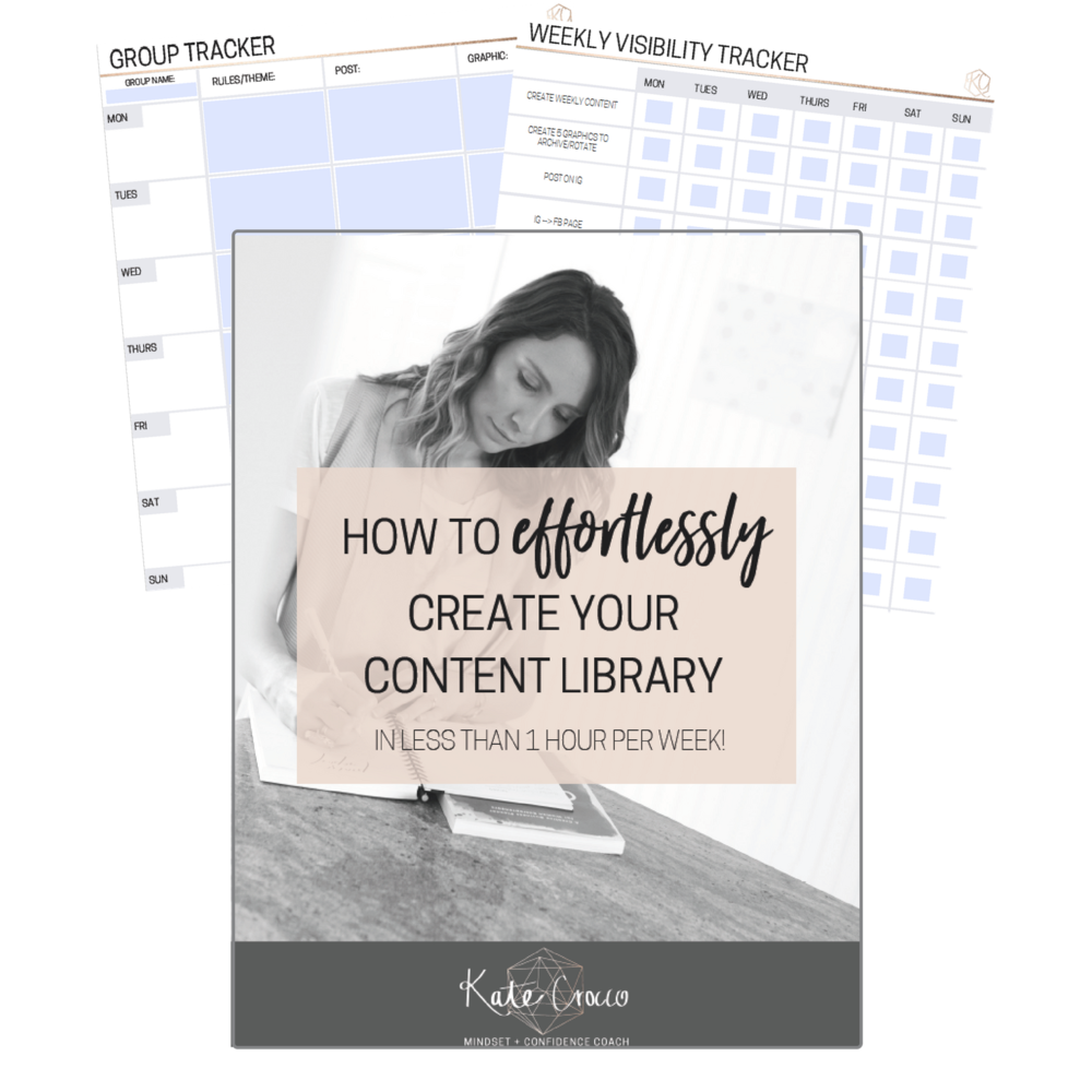 Includes a training video + workbook to learn how to effortlessly create a content library, along with two trackers to help you keep on top of where you post your content