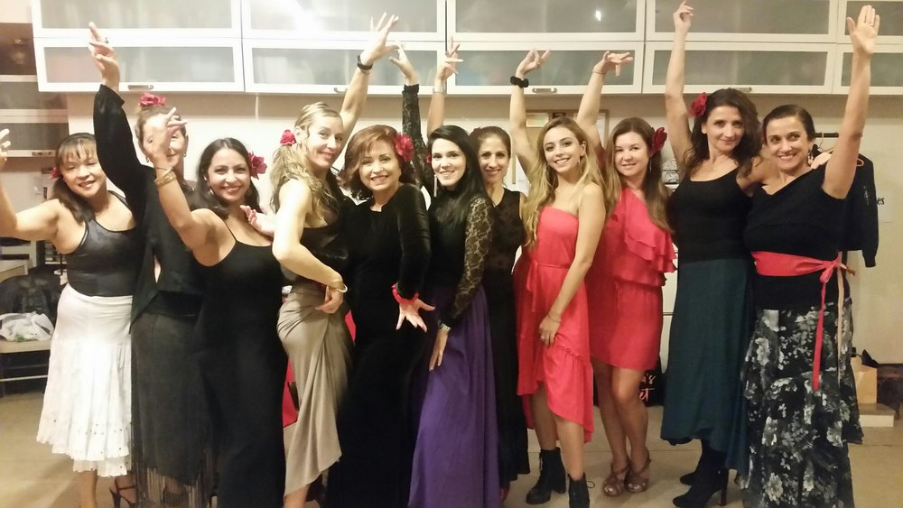 These ladies celebrated a special birthday at Flamenco Chicago, with a flamenco class, complete choreography, video, cava . . . and they rented the studio for an additional hour after the lesson to celebrate.  All of them were completely new to flamenco!