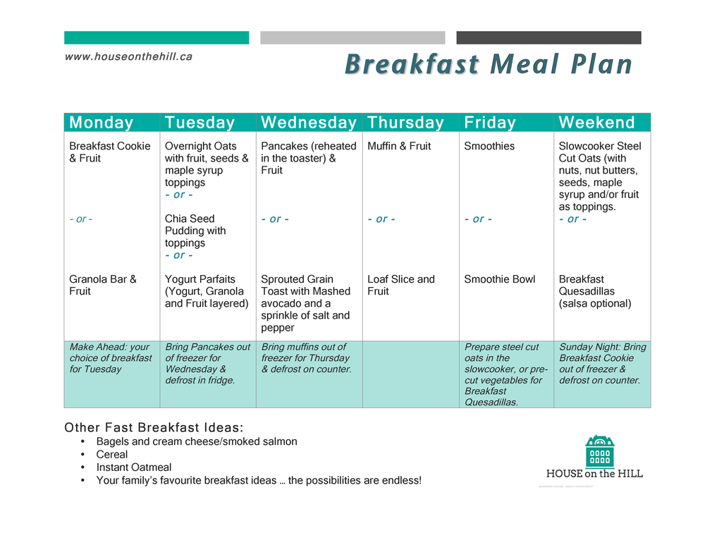 FREE Breakfast Meal Plan Printable!