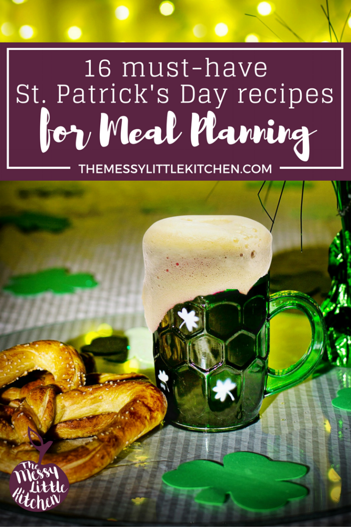 St Patrick's Day Recipe Round-Up: 16 Must-Have St. Patrick's Day Recipes for Festive Meal Planning. Whether you are looking for St. Patrick's Day recipes for your family menu, or for a St. Patrick's Day themed party, this recipe round-up will take the pressure out of your festive meal planning. We've got you covered on everything from appetizers, to main entrees, side dishes, and even some pretty spectacular desserts.