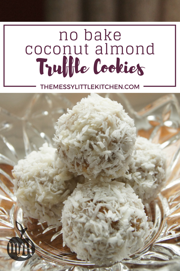 This recipe for No Bake Coconut Almond Truffle Cookies uses common ingredients that you can find in your pantry. They are a show stopper in both flavour and appearance, and they are an easy no-bake cookie recipe for kids to get involved in the kitchen! A sweetened nut and date filling is covered in buttercream icing, and topped with decadent coconut - who can resist? This recipe makes a big batch, but they won't last long!