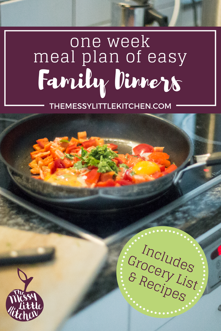 One Week Meal Plan of Easy Family Dinners (with Grocery List). Looking for a one week family-friendly meal plan, including recipes and a grocery list? Look no further! This post shared six delicious & easy meals for busy families, with varying cooking approaches that adapt t your schedule on weeknights. Included are recipes for 30 minute meals, slow cookers, and even an awesome sheet pan dinner. A complete grocery list is also included for all six meals that you can save for later to make your shopping a breeze.