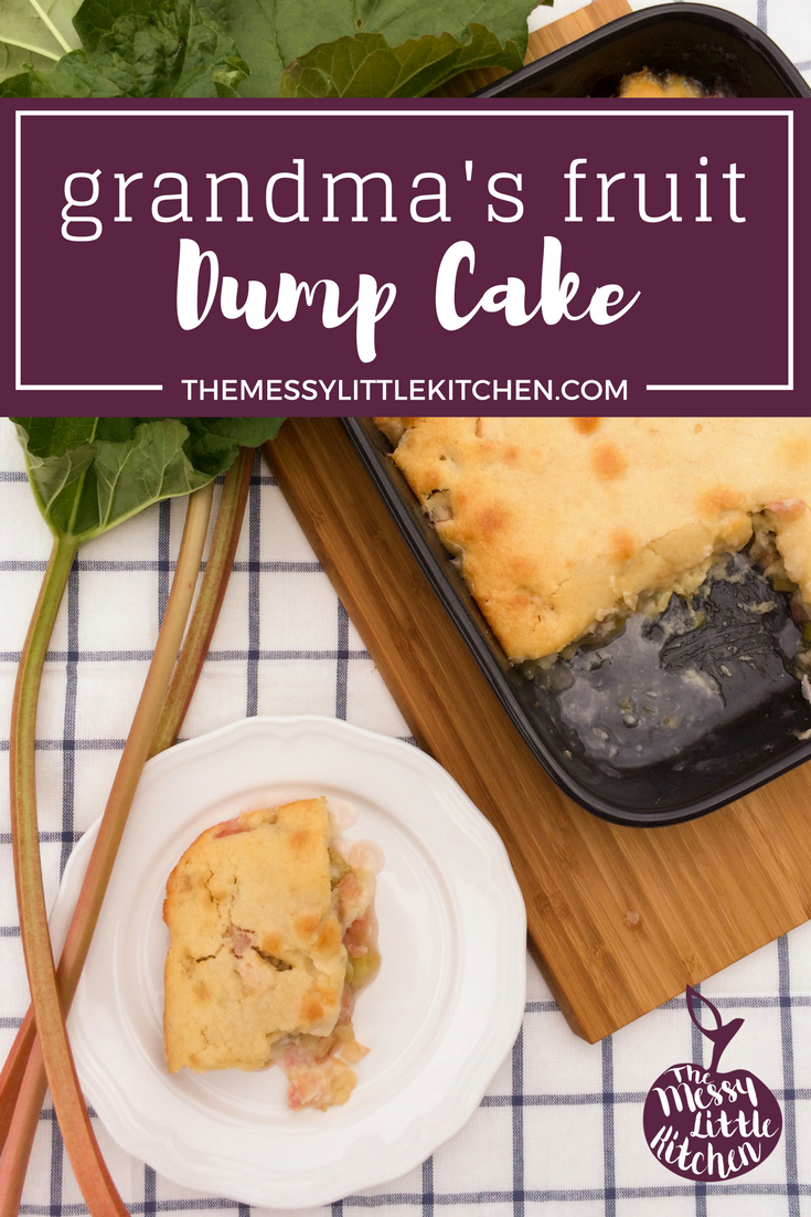 "Grandma's Fruit Dump Cake. Don't let the name ""dump cake"" scare you off from trying this fast, easy, panty and meal-planning friendly cake! This delicious and easy dessert using seasonal fruit has been passed down now in my family for over 100 years must be one of the original dump cake recipes that are out there. Every time I have extra fruit that needs used up, I think about this quick and easy dump cake, which is very much like a cobbler mix, except with the topping being more of a decadent cake mixed with a delicious fruit layer on the bottom."