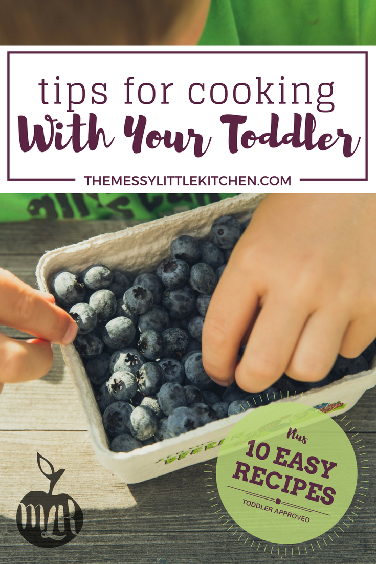 Tips for Cooking With Your Toddler, Plus 10 Easy Recipes! Kids of all ages love being involved in the kitchen! That includes toddlers, and the key is to find way to nurture their curiosity in the kitchen, develop their fine motor skills, and keep them safe while cooking.  Even better? You don't need special kids' kitchen supplies - just your regular cooking tools! Unlike school-aged kids, toddlers have a few more safety measures that parents and caregivers need to keep in mind when including them in the kitchen. This post includes tips for cooking with toddlers, followed by ten of our family's favourite healthy cooking for children recipes that are practice different fine motor skills and provide a variety of sensory experiences for little chefs.