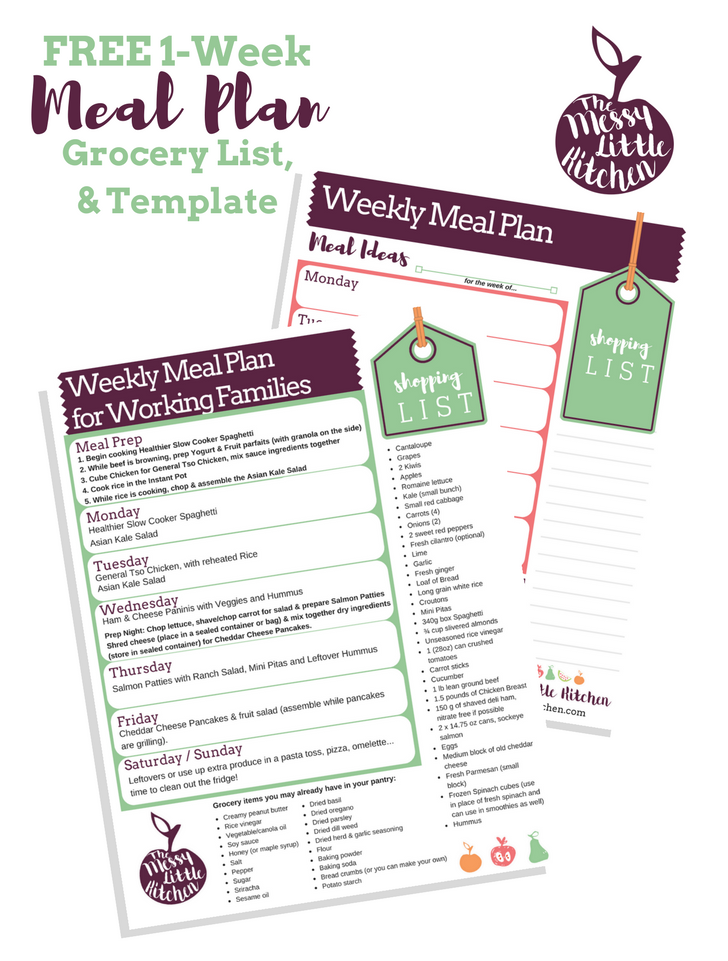 Weekly Meal Plan & Template for Working Families