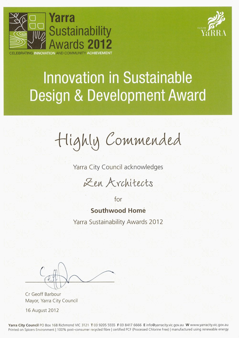 2012_Yarra Sustainability Awards_Highly Commended_Innovation in Sustainable Design & Development_Southwood Home.jpg