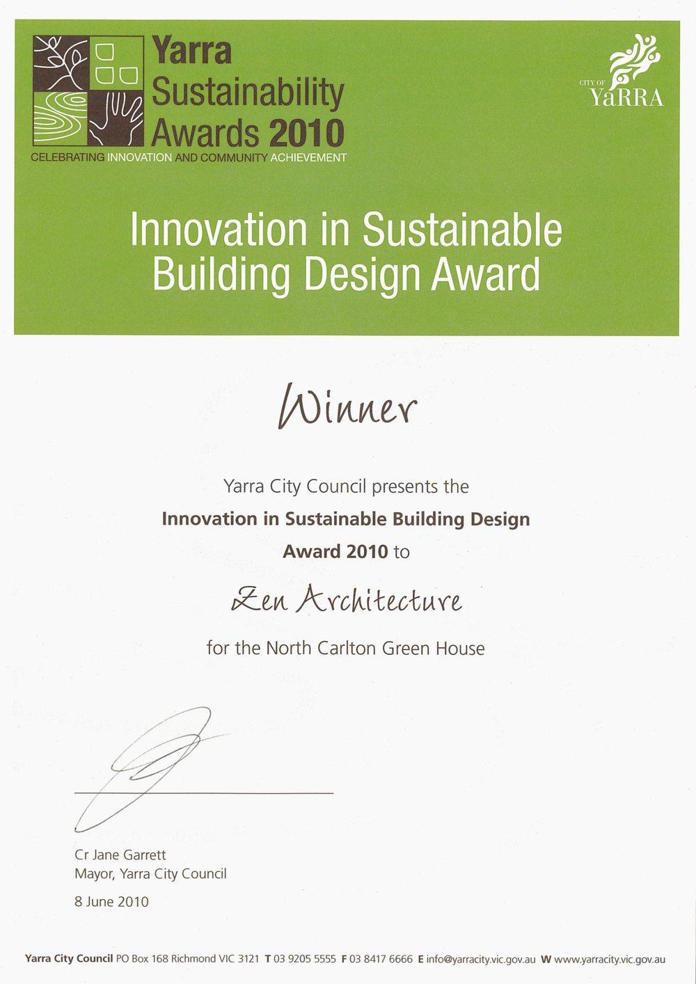 2010_Yarra Sustainability Awards_Winner_Innovation in Sustainable Building Design_North Carlton Green House.jpg