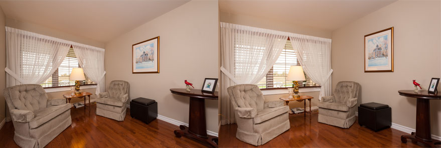 real estate photo wide angle lens side by side comparison