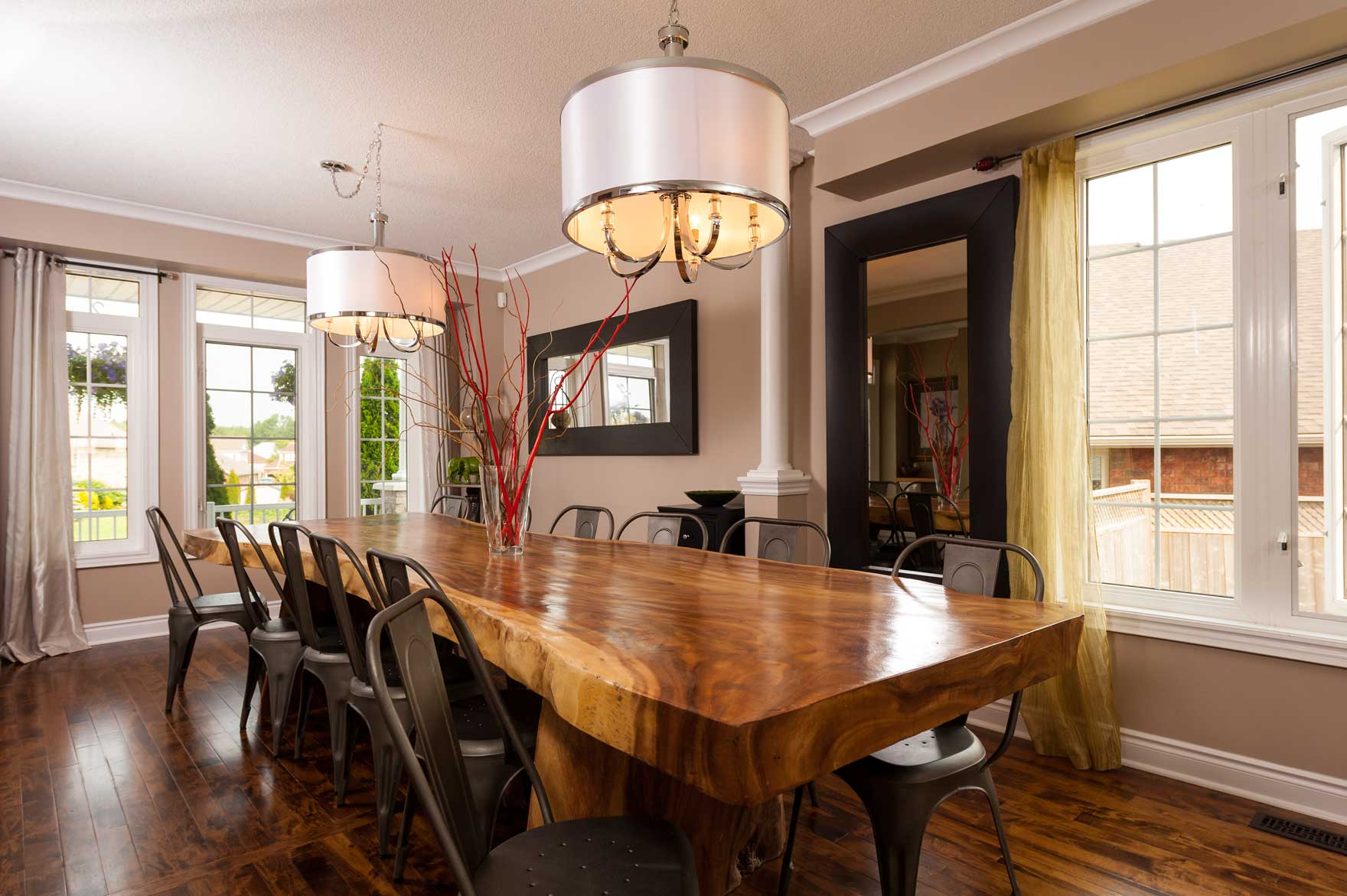 real estate marketing mirror dining room table