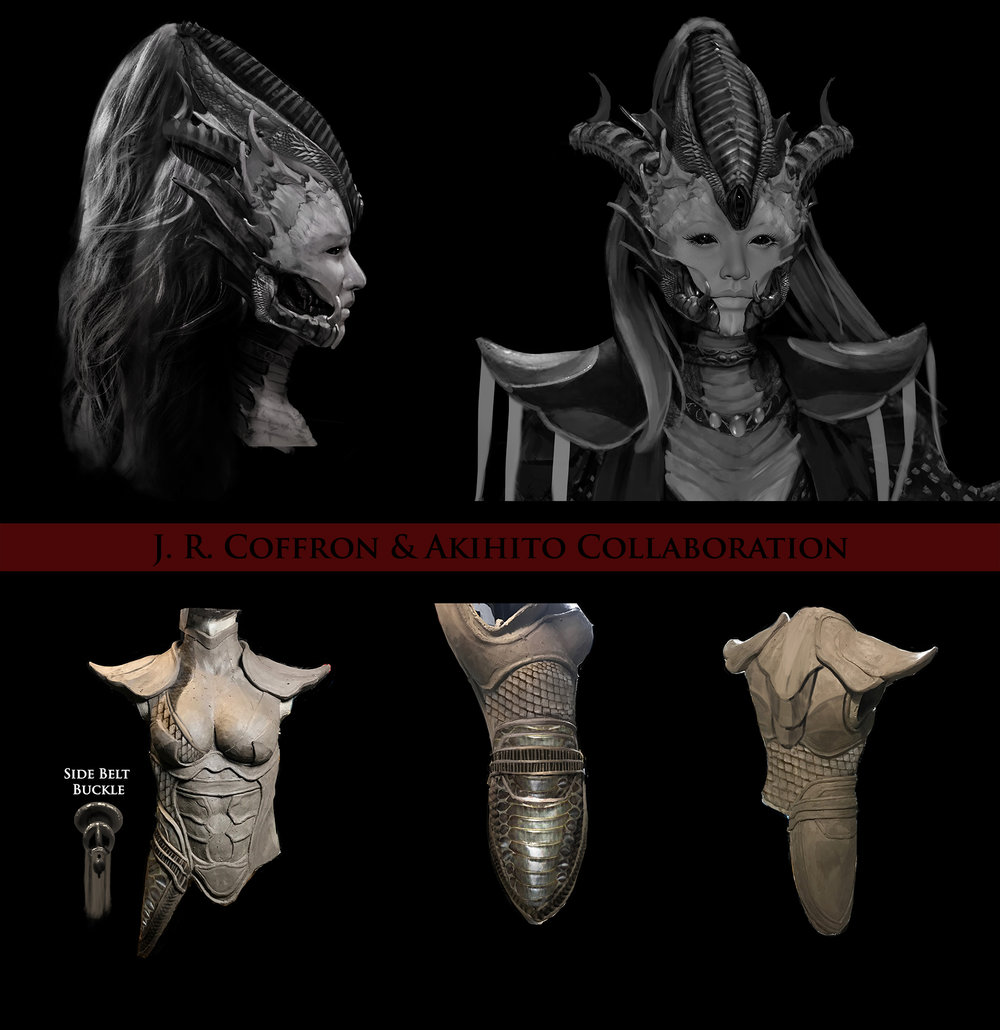 Featured here is my design of Tsillah's head along with a paint-over I did on photos of Akihito's rough armor sculpt.