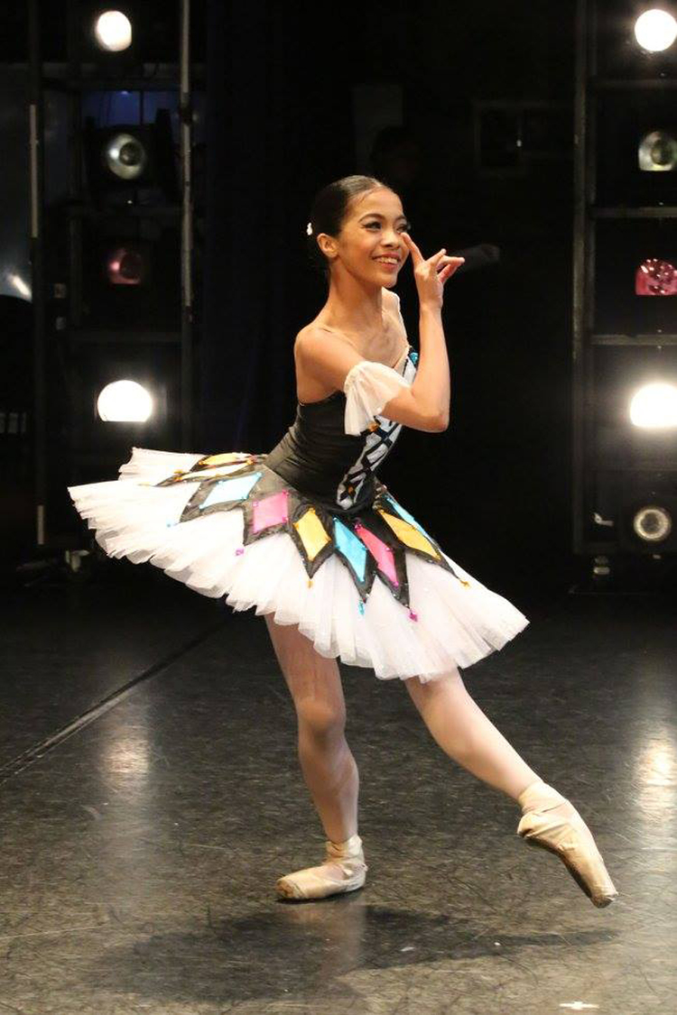 Nicole Barroso dances the    Harlequinade    variation in the finals of the 2016 Asian Grand Prix's Junior A Division. Photo courtesy of Asian Grand Prix