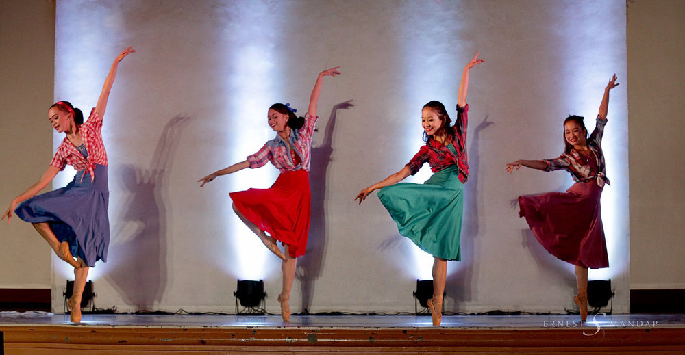 Pearl (third from left) joins fellow Ballet Manila dancers in    Sayaw Pinoy   , another number in    Ballet & Ballads   . Photo by Ernest Mandap