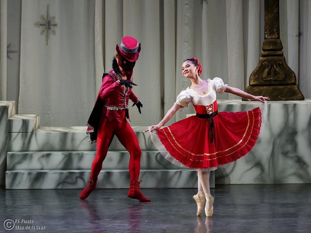 As Red Riding Hood in    The Sleeping Beauty   , featured in    The Swan, The Fairy and the Princess   , opposite John Balagot as the Wolf. Photo by Stan de la Cruz