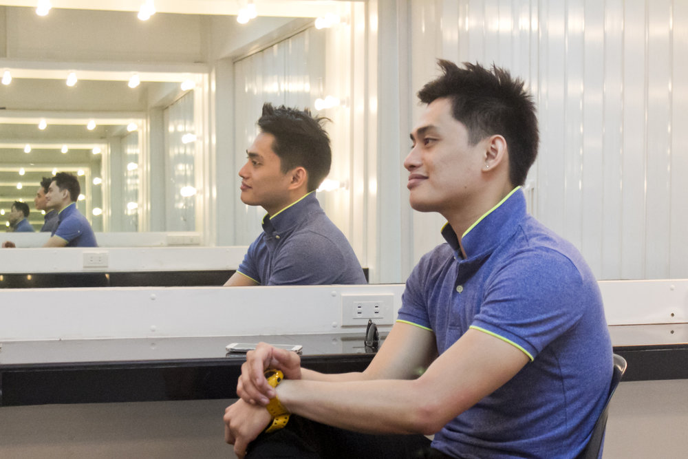 "At the Ballet Manila dressing room in Aliw Theater, Alfren reflects, ""In ballet, you learn not just about dance but about life."" Photo by Jimmy Villanueva"