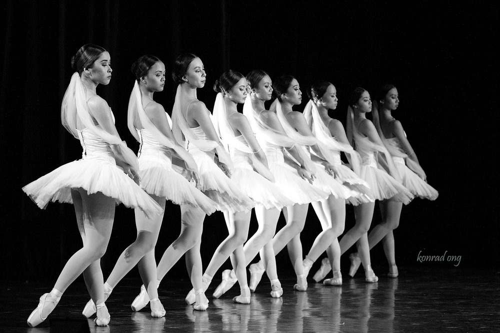 Czarina (third from left) joins the other girls in an excerpt from    La Bayadere   , as presented in    BM 21   , a prelude to the company's all-classics 21st season. Photo by Konrad Ong