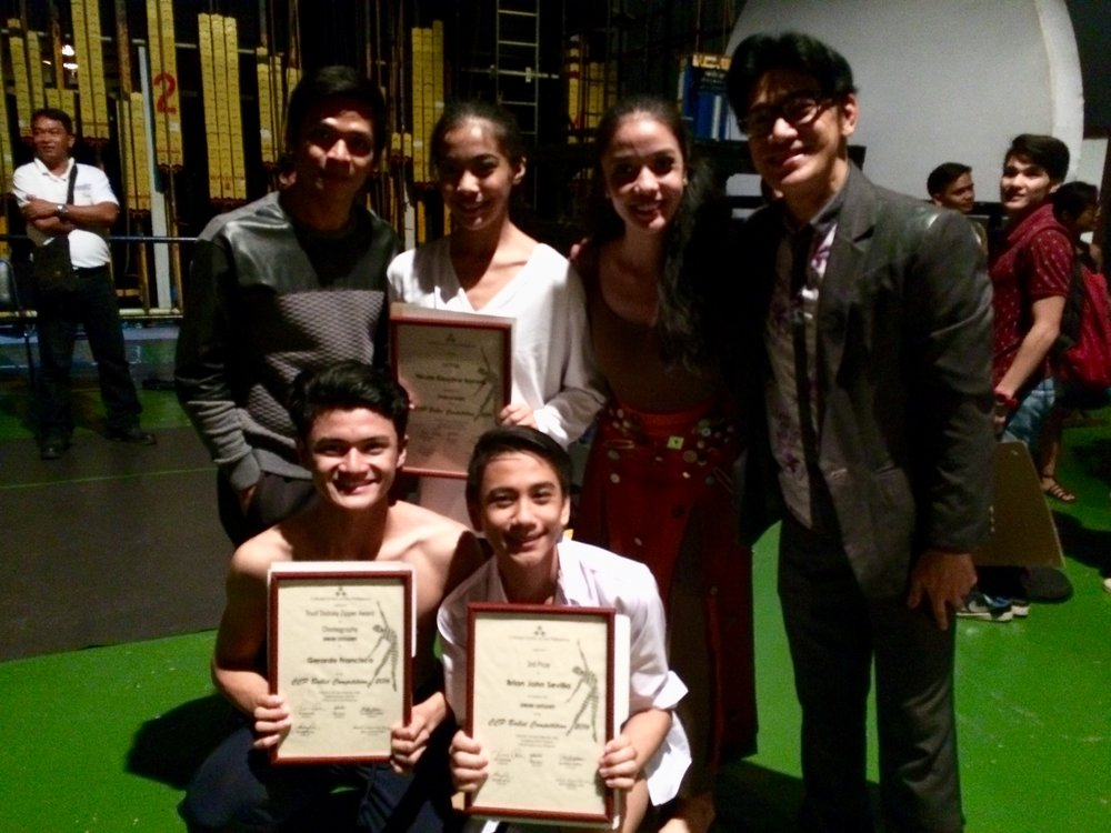 Nicole (standing, second from left) celebrates her win with her uncle and Ballet Manila co-artistic director Osias Barroso (standing, rightmost) and colleagues (standing, from left) Gerardo Francisco, Marinette Franco, (kneeling, from left) Joshua Enciso and Brian Sevilla. Photo by Giselle P. Kasilag