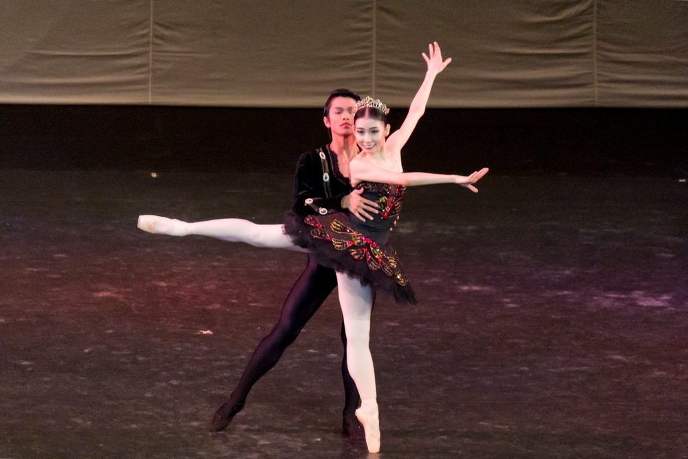 Dancing as Odile opposite Elpidio Magat in the Black Swan Grand Adagio, featured in Ballet Manila's    Two!    in 2014. Photo by Jimmy Villanueva
