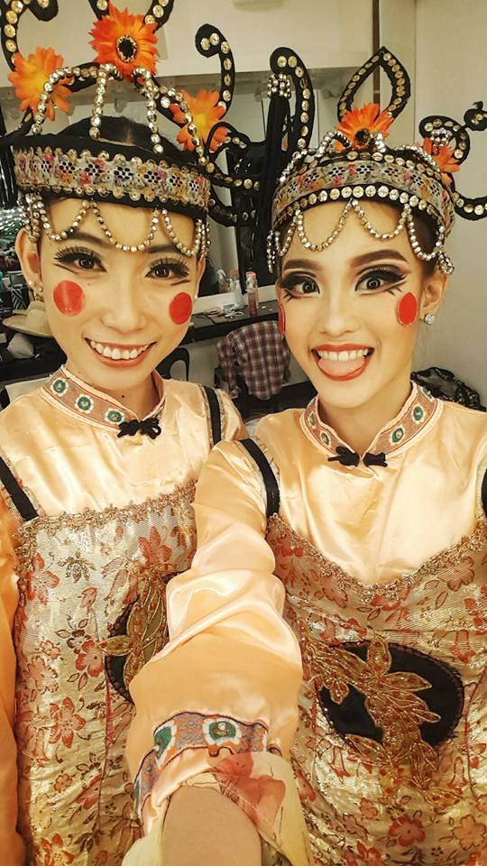 Backstage with one of her closest friends in BM, Joan Emery Sia, after dancing as Chinese Dolls in Osias Barroso's    Pinocchio   . Photo from Joan Emery Sia's Facebook page
