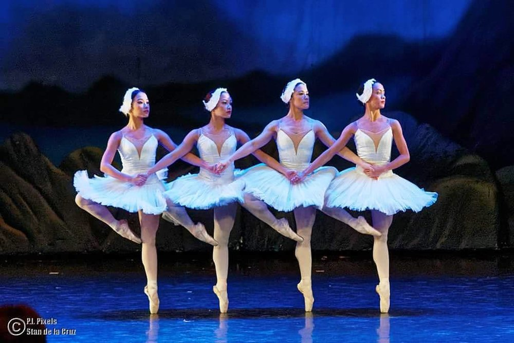 Jessa (rightmost) together with (from left) Jasmine Pia Dames, Jessica Pearl Dames and Tiffany Chiang-Janolo perform the Dance of the Cygnets from  Swan Lake  in last October's  The Swan, The Fairy and the Princess . Photo by Stan de la Cruz