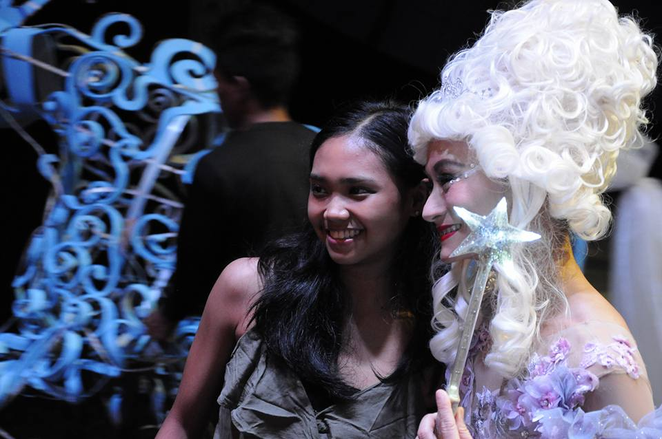 Going backstage after watching Cinderella, Abby has her photo taken with artistic director Lisa Macuja-Elizalde (as Fairy Godmother) backstage. Photo by Mark Sumaylo